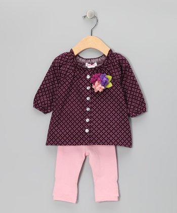 Mauve Juliet Button-Up Tunic & Pink Leggings - Infant