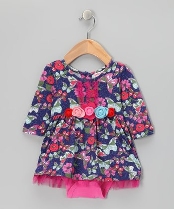 Blue Butterfly Garden Skirted Bodysuit - Infant