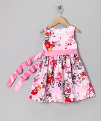 Rose Toile Bow Dress - Girls