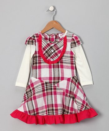 Fuchsia & Ivory Plaid Linen-Blend Layered Dress - Toddler & Girls