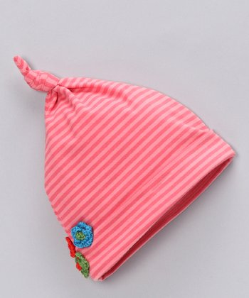 Coral Stripe Single-Knot Beanie - Infant