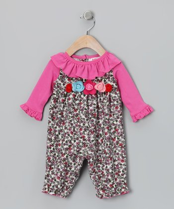 Pink Floral Ruffle Playsuit - Infant