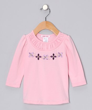 Pink Ruched Flower Tee - Girls