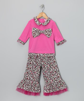 Pink Bow Tunic & Ruffle Pants - Toddler