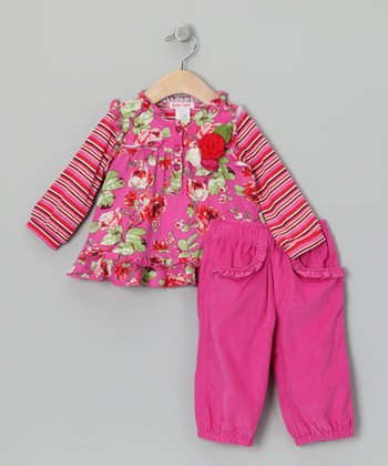 Pink Floral Layered Tunic & Corduroy Pants - Infant