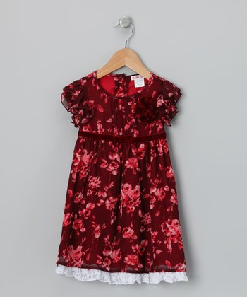 Scarlet Floral Chiffon Dress - Girls