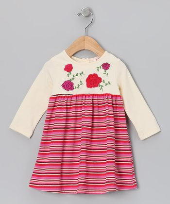 Cream & Pink Rose Stripe Dress - Infant & Girls