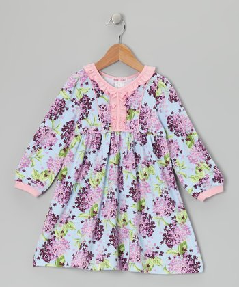 Lavender Cluster Kristy V-Neck Dress - Toddler & Girls