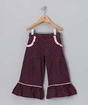 Purple & Pink Gaucho Ruffle Pants - Toddler & Girls