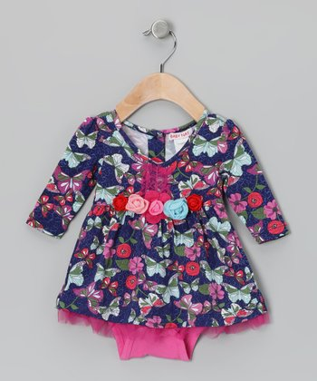 Blue Floral Mya Skirted Bodysuit - Infant