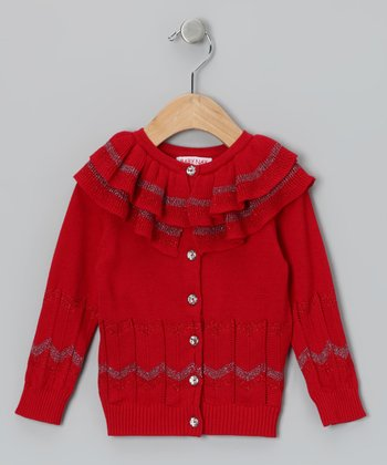 Burgundy Holiday Rose Ruffle Cardigan - Toddler & Girls