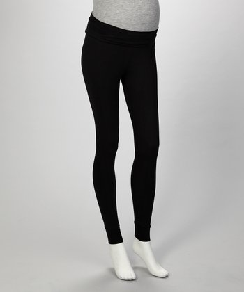 Black Cuff Maternity Leggings