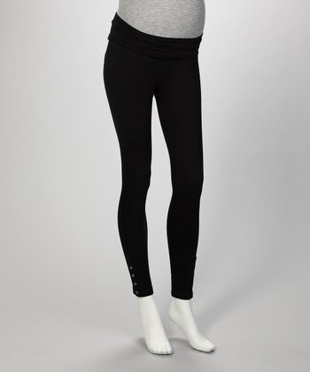Black Snap Maternity Leggings