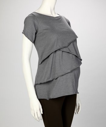Sporty Gray Juliet Maternity & Nursing Top