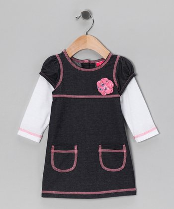 White Layered Pocket Dress - Infant