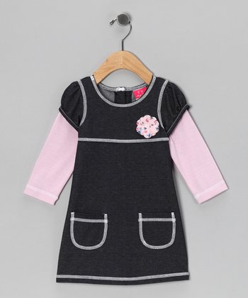 Light Pink Layered Pocket Dress - Infant