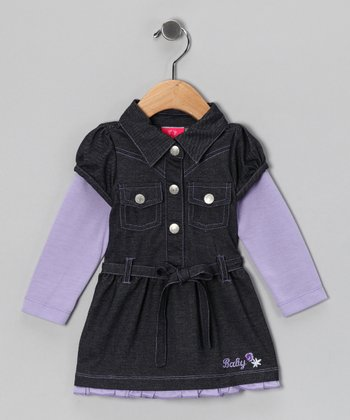 Lavender Denim Shirt Dress - Infant