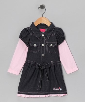 Light Pink Denim Shirt Dress - Infant