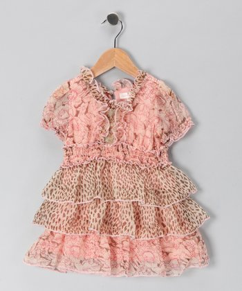Blush Leopard Ruffle Dress - Toddler