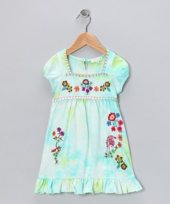 Baby Sara Teal Tie-Dye Embroidered Dress - Girls