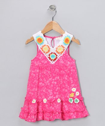 Baby Sara Pink Floral Tissue Dress - Girls