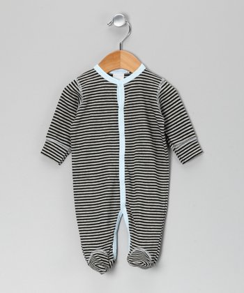 Black & Light Blue Stripe Footie - Infant