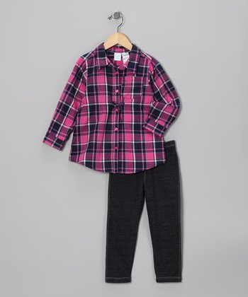 Rose & Navy Plaid Top & Black Leggings - Infant & Toddler