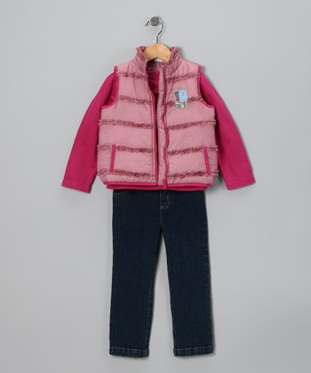Rose Ruffle Puffer Vest Set - Infant, Toddler & Girls