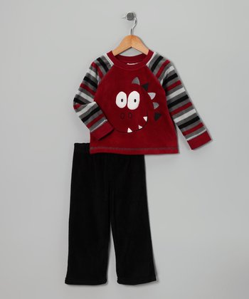 Red Dino Fleece Raglan Tee & Black Pants - Toddler