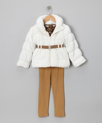 Ivory Puffer Coat Set - Toddler
