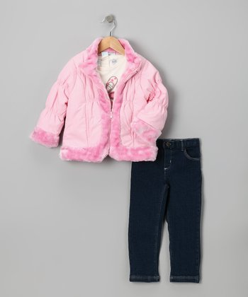 Pink Faux Fur Coat Set - Toddler