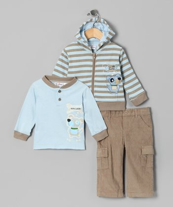 Khaki Stripe Puppy Zip-Up Hoodie Set - Infant