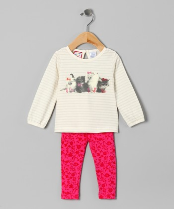 Pink Stripe Kitten Top & Pants - Infant