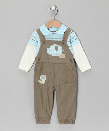Blue Layered Tee & Green Elephant Overalls - Infant
