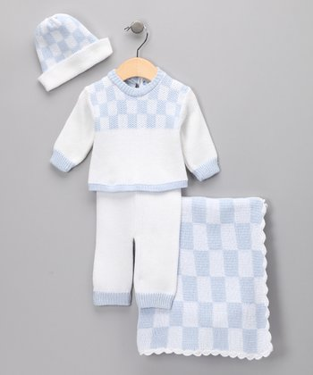 Blue Checkerboard Layette Set - Infant