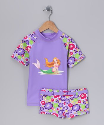 Little Mermaid Rashguard & Shorts - Toddler & Girls