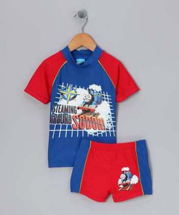 Blue & Red Thomas Rashguard & Shorts - Infant & Toddler