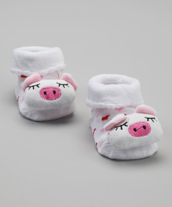 White Polka Dot Pig Socks