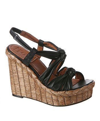 Black Bacoli Leather Wedge