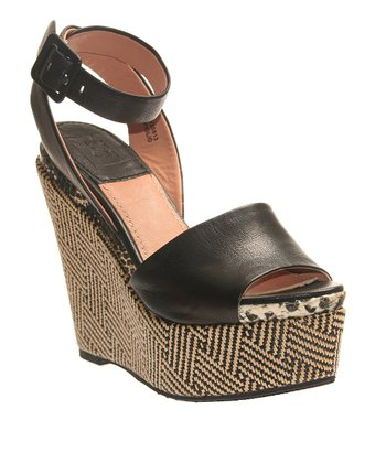 Black Piglio Leather Wedge Sandal
