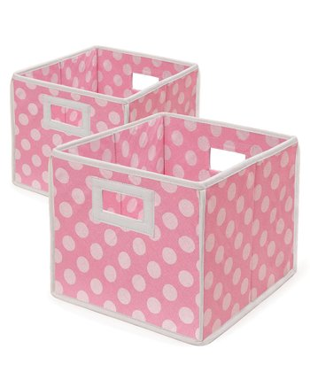 Pink Polka Dot Folding Storage Cube - Set of Two