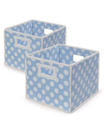 Blue Polka Dot Folding Storage Cube - Set of Two