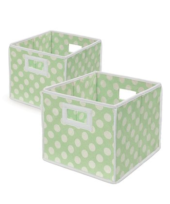 Sage Polka Dot Folding Storage Cube - Set of Two