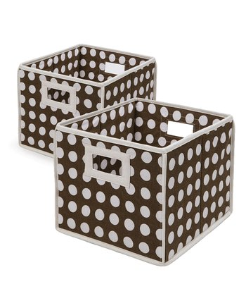Brown Polka Dot Folding Storage Cube - Set of Two