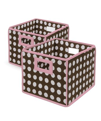 Pink & Brown Polka Dot Folding Storage Cube - Set of Two