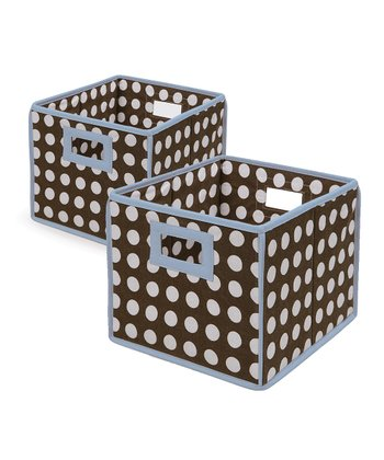 Blue & Brown Polka Dot Folding Storage Cube - Set of Two