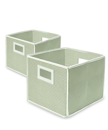 Sage Gingham Folding Storage Cube - Set of Two
