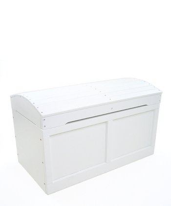 White Barrel-Top Toy Chest