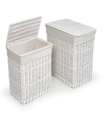 White Lined Hamper Set