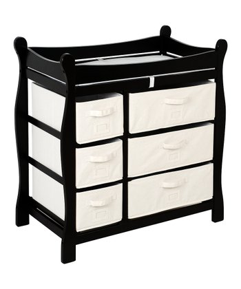 Black Sleigh Six-Drawer Changing Table